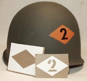 US Helmet Stencil 2d Rangers WW2 Template USA Normandy WWII WK.2 M1 Battalion