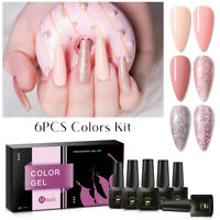 MTSSII 6Pcs/Set Glitter Color Soak Off UV Gel Nail Art Polish Top Base Coat 8ml