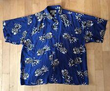 AVANTI Mens 100% Silk Hawaiian Shirt Sz 4XL. Blue With Pineapples
