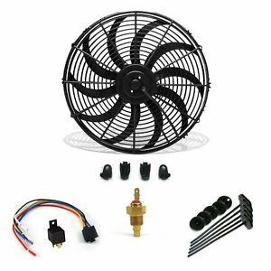 """16"""" Electric Fan 3000 CFM + Wiring Install Kit Complete Thermostat 60 AMP Relay"""