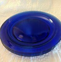 Cobalt Blue Arcoroc France Glass Set of 4 Salad Plates Sapphire Blue MINTY