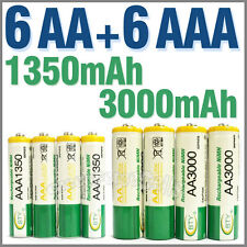 6 AA + 6 AAA 1350mAh 3000mAh 1.2V NI-MH Rechargeable Battery 2A 3A BTY Green