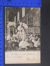 ROMA (RM) IL PAPA IN SEDIA GESTATORIA CART. POSTALE ANIMATA ANNO 1899 RARA 23998