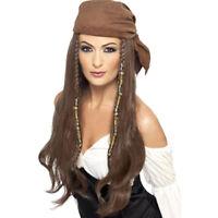 Perücke Piratin mit Bandana, braun Piratenperücke