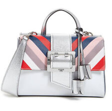 541599705e84 GUESS Tori Saffiano Flap Satchel Handbag Purse Metallic Silver Multi Color