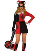 Adult Womens Harley Quinn Costume Court Jester Outfit
