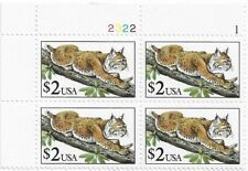 US Stamps. Plate Block. $2 Bobcat. Scott# 2482. MNH.