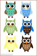 6 Boy Owls iron on transfers