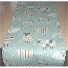 """4ft Table Runner 120cm Sheep Duck Egg Blue Cream Grey Tartan Plaid 48"""" Farmhouse"""
