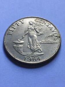 PHILIPPINES 1964 Fifty Centavo Coin KM 190 AU+