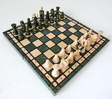 Marca Nueva Verde Polaco Real Juego de ajedrez de madera 31cm/30.5cm