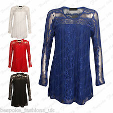 Ladies Women's Stylish Lace Lined Long Sleeve Party Tunic Dress Top Plus 14-28