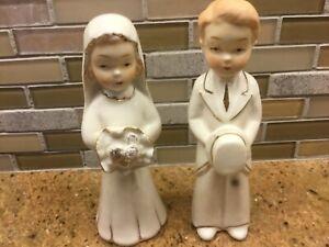 Vintage Bride and Groom Porcelain Cake Topper Figurines, Ivory & Gold Trim Japan
