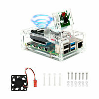 Clear Acrylic Case Enclosure Box with Cooling Fan For Raspberry Pi 4 Model B US
