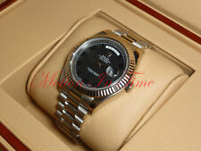 "Rolex Day-Date II President White Gold 41mm Fluted Bezel ""Black Out"" Dial 218239"