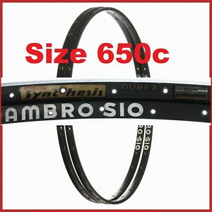 "NOS AMBROSIO SYNTHESIS RIMS 26"" 650c 32H 70s VINTAGE TUBULAR RACING ROAD BIKE 80"