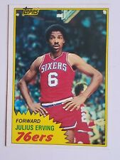 Authentic Dr. J Forward 76ers TOPPS 1981 Julius Erving 5 Time NBA All-Star