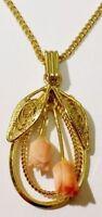 pendentif chaine rétro bijou vintage doré or fin fleur corail rose déco /R