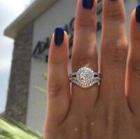 2.5ct dvvs1 round halo diamond engagement ring band trio set 14k white gold over
