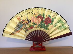 1x Chinese Silk Folding Hand Held bamboo Fan Party Dance Large (xianghe)