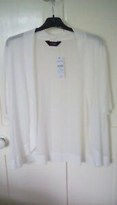BNWOT- Yours - White bow detail shrug, lightweight, size 16