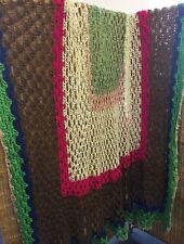 Huge Vintage Handmade Retro Multi Colour crocheted granny square blanket 275sq