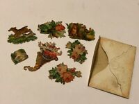 Antique Miniature DIE CUT Victorian Seals Scrap Viel Gluck w Envelope Germany