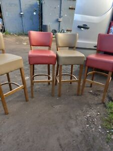 4 x Vintage Bar Pub Stools Faux Leather Man Cave Breakfast Bar We Can Deliver