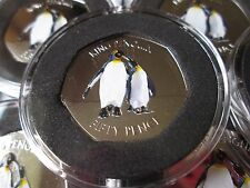 2017 Falkland Island King Penguin 50p coin couleur bunc COA SEALED