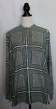 COUNTRY ROAD ~ White Green Black Dots Squares Viscose Relaxed Fit Tunic Shirt XL