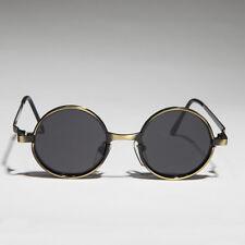 Bronze Round Metal Hippie Vintage Steampunk Sunglasses Gray Lens-Merlin