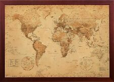 Framed World Map Perfect For Tracking Trips in Premium Brown Finished Wood