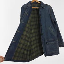 Lands' End Size Large L 14 - 16 Flannel Lined Barn Jacket Denim Jean Coat