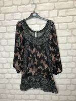ATMOSPHERE PRIMARK LADIES TOP SIZE 12 GREY MIX LIGHTWEIGHT BUTTERFLY PRINT