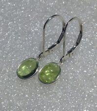 925 Sterling Silver Bezel Set Oval Cab Peridot Dangle Leverback Earrings 3.20CTW
