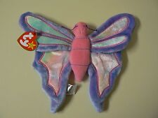 Ty Beanie Baby FLITTER Plush Blue Pink and White Butterfly Original