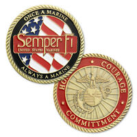 United States Marine Corps Motto Semper Fi USMC Military Honor Challenge Coin