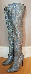 Silver Sequin Over the Knee Stiletto Heel Boot Size 5 BNWOB