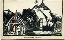 Rottingdean St Margarets Church Sussex Lino cut print by DME unused postcard