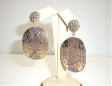 Cork Ireland Etched Brass Celtic & Knotted Hound Earrings Handmade Earth Sky Sea