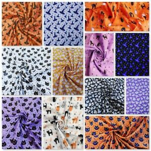 Halloween Fabric Spooky Cats Ghosts Witches Stars Spiders Bats Pumpkins Brooms