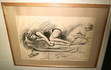 Two Women Resting with Cat Charcoal Drawing-Lambro Ahlas