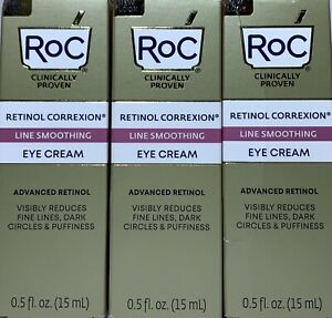 Lot (3) Roc Retinol Correxion Line Smoothing Eye Cream 0.5 oz NIB Great Price!