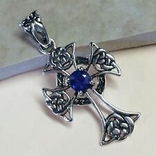 Natural 1ct Blue Sapphire 925 Solid Sterling Silver Cross Designer Pendant 36mm