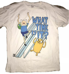 Cartoon Network Adventure Time Graphic T Shirt Size L Blue Crew Neck Tee