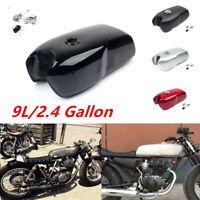 9L/2.4 Gallon Vintage Motorcycle Cafe Racer Seat Fuel Gas Tank&Cap Switch 1pcs