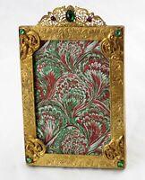 """Antique Jewel Encrusted Art Nouveau Brass Frame 4-1/2"""" x 6-1/2"""" Excellent"""