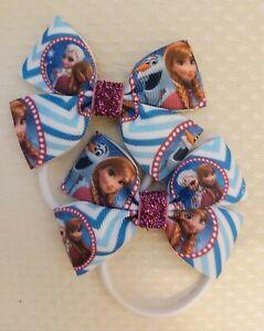 Elsa Anna Frozen Disney princess Hair Bows bobbles x2 Hair Accessories ribbon