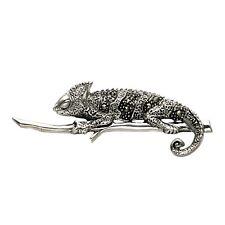 Sterling Silver & Marcasite Chameleon Lizard Iguana on Branch Pin - MPN164
