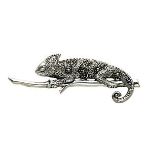 925 Sterling Silver & Marcasite Chameleon Lizard Iguana on Branch Brooch Pin